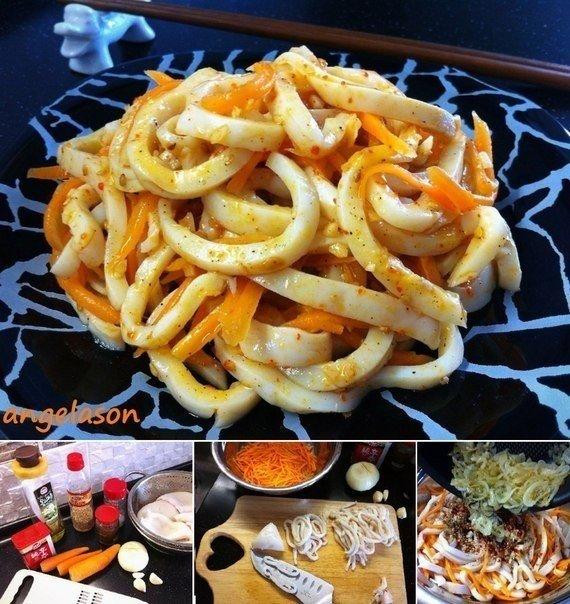 Кальмар по-корейски Это блюдо довольно простое и не