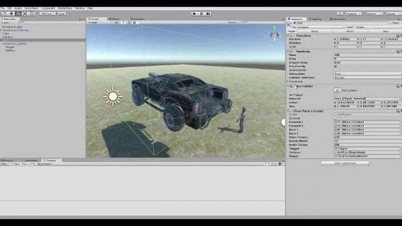Unity3D взаимодействие с машиной
