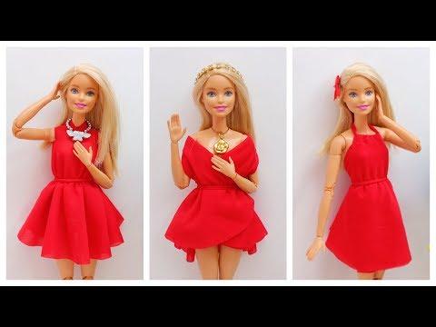 How To Make Barbie Clothes - No-sew No-Glue Doll Clothes
