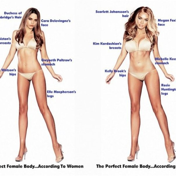 Слева - идеальное женское тело