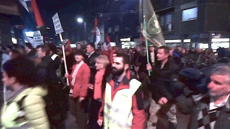 Protest Beograd 16 3 kolona ide ka RTS u i pocetak programa TV Dnevnik protesta