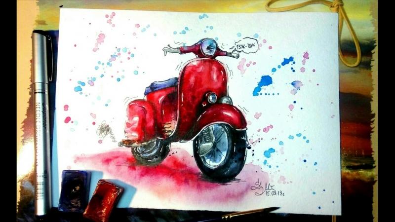 Бесплатный курс по скетчингу - Учимся рисовать скутер (Подборка)
