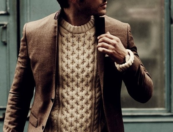 Мужской пуловер с аранами с доставкой