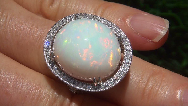 GIA Certified Natural Ethiopian Opal Diamond 14k White Gold Estate Cocktail Ring - C835
