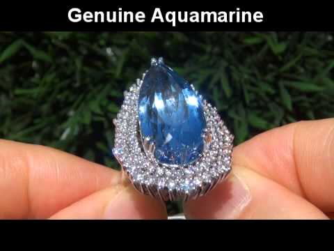 HUGE 25.05 ct Aquamarine Diamond 14k White Gold Vintage Ring Certified TOP GEM