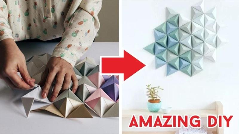 Cara Membuat Hiasan Dinding Dari Origami Segitiga | How to fold triangle origami DIY Tutorial Wow