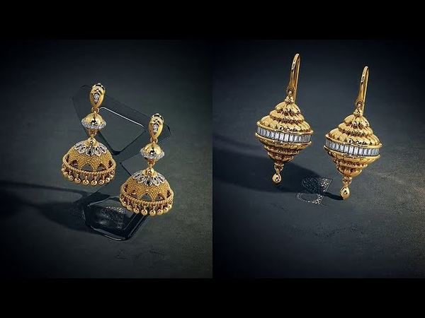 Elegant Gold Jhumka Earrings Models from Bluestone