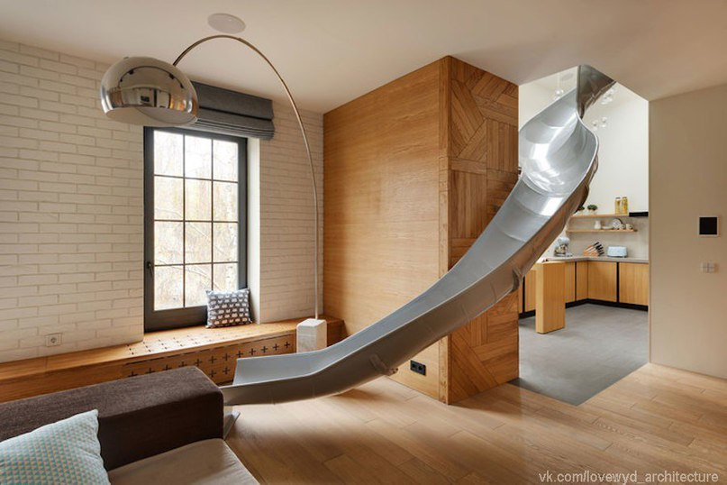 Wonderful Apartment With a Slide to Connect Two Floors,