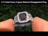 CERTIFIED 2.73 ct SI1 Fancy Cognac Diamond Engagement Wedding Ring 14k Gold AAA+