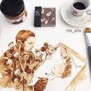 Картины с ароматом кофе: нежные акварели, нарисованные бодрящим напитком, от Maria A.