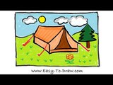 How to draw a cartoon tent in campground (Camping Place) - Free &amp Easy Tutorial for Kids