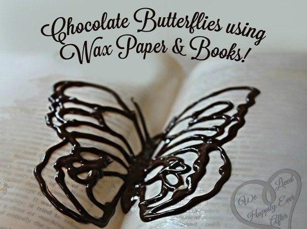 Как с помощью книги превратить жидкий шоколад в объемное украшение для торта.