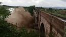 Severe flooding collapses bridge in Romania Brasov June 30 2018