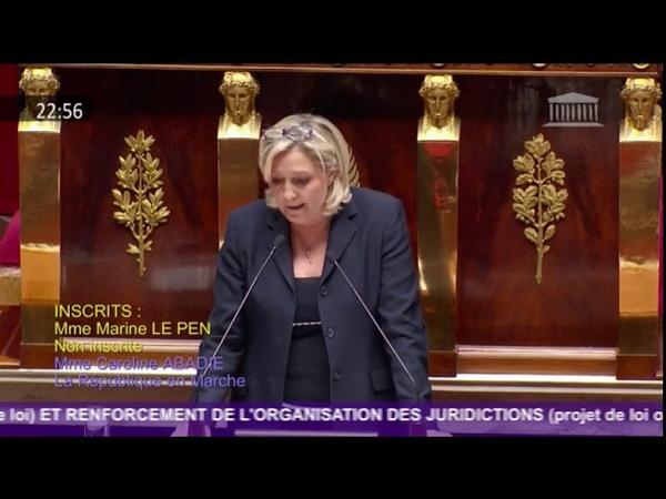 Marine Le Pen intervient sur la réforme de la justice