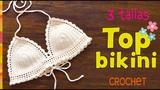 Top modelo bikini con bordes de ondas tejido a crochet en 3 tallas - Tejiendo Peru