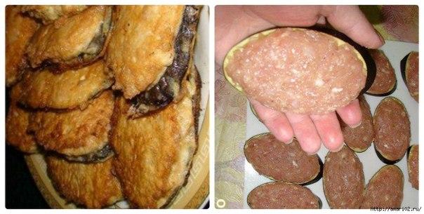 Баклажаны в мясной шубке