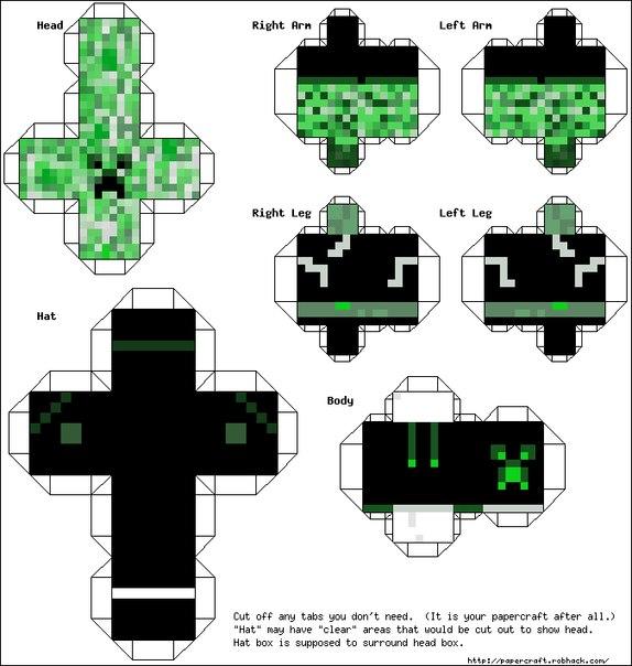 Бумажные фигурки Minecraft и