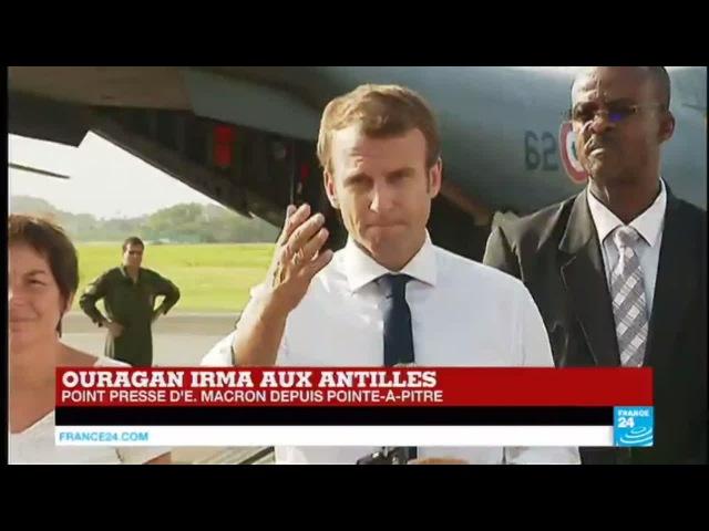 REPLAY - Discours d'Emmanuel Macron à Pointe-à-Pitre après le passage de l'ouragan Irma aux Antilles 12.09.2017