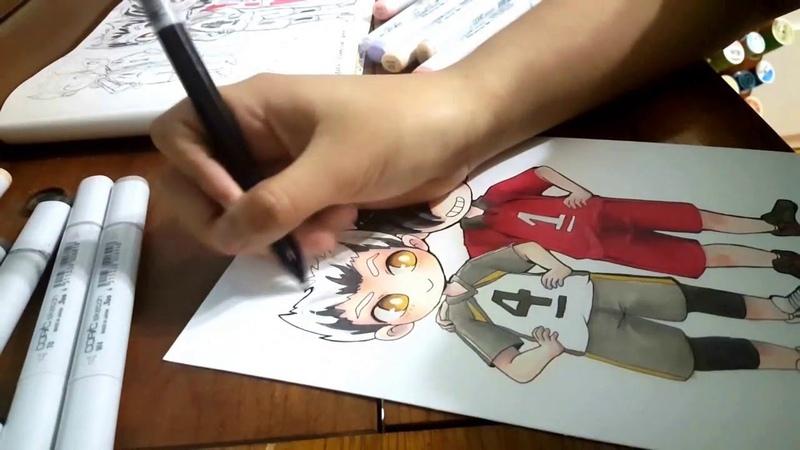 Haikyuu!! - Kuroo and Bokuto Copic Chibi Commission -