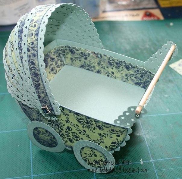 Как сделать коляску из картона для барби