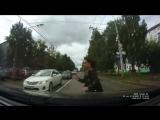 Момент ДТП на ул. Дзержинского. Наезд на пешехода.
