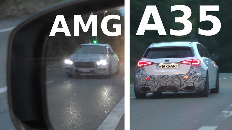 Mercedes Erlkönig AMG A35 (W177) im Rückspiegel - prototype in the rearview mirror SPY VIDEO