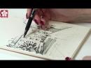 Архитектурный скетч ручками и маркерами Sakura от Елены Моториной