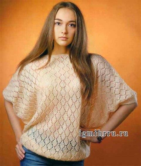 Широкий пуловер с ажурным узором (3 фото) - картинка
