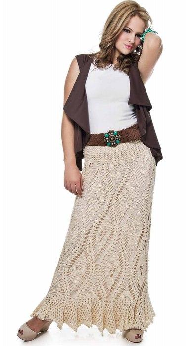 Вязаная длинная юбка крючком 5