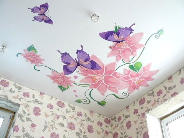 натяжные потолки с фотопечатью каталог фото цветок