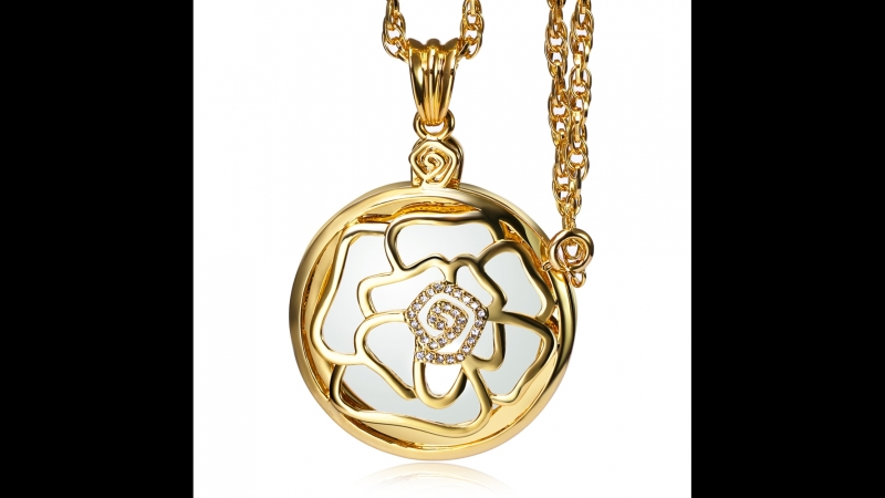 DreamCarnival1989 Romantic Crystals Rose Hollow Cover Magnify Glass Pendant Necklace Rhodium Gold Color Gift for Mum Wholesalers