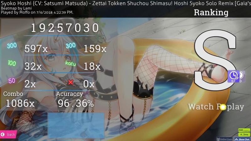 Osu! | Moffo | Syoko Hoshi - Zettai Tokken - Solo Remix [Gaia's Insane] HDDT FC 96.36% 300BPM