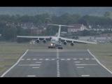 Crosswind and wake turbulence contribute to tricky landing cargo plane IL-76