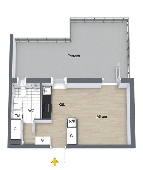 Интерьер шведской квартиры-студии 31 м.