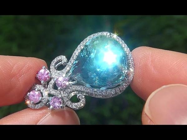 GIA Certified FLAWLESS Natural Aquamarine Pink Sapphire Diamond 18k Gold Pendant - C363
