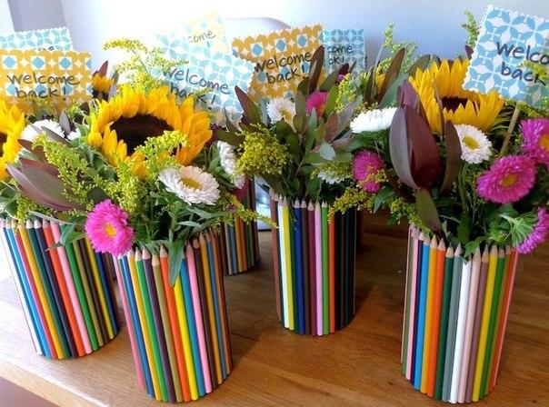 Идея подарка к 1 сентября: ваза из карандашей… (7 фото) - картинка
