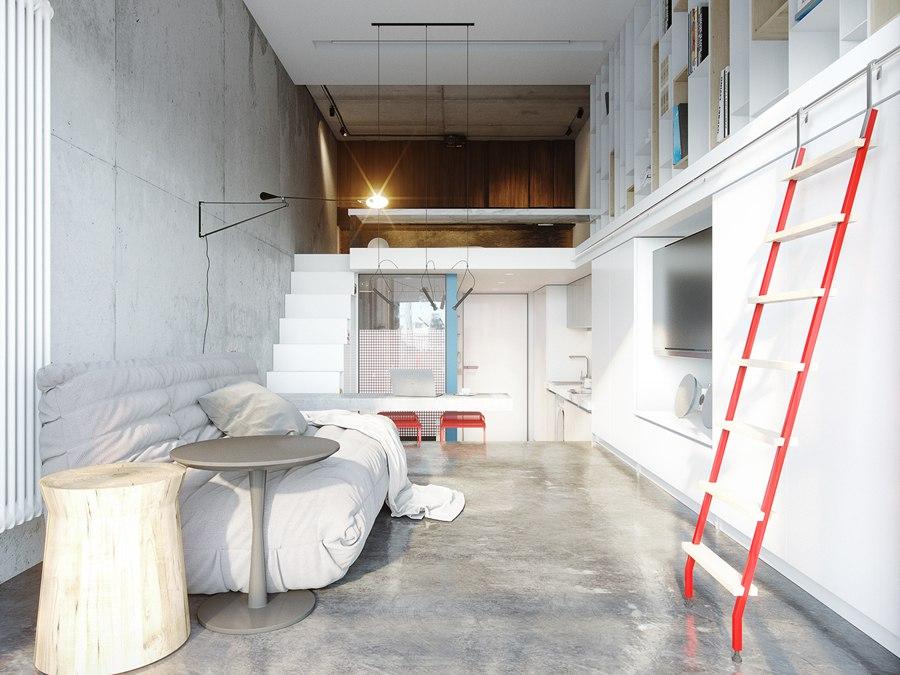 Проект двухуровневой квартиры-студии 33 м (с лоджией – 36 м).