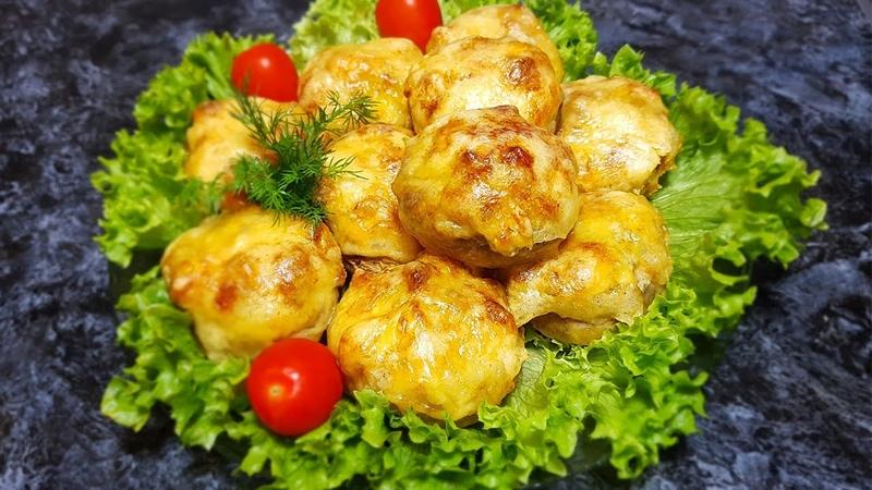 Фаршированные грибы с курицей и сыром в духовке
