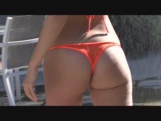 See Through Orange Brazilian Micro Bikini