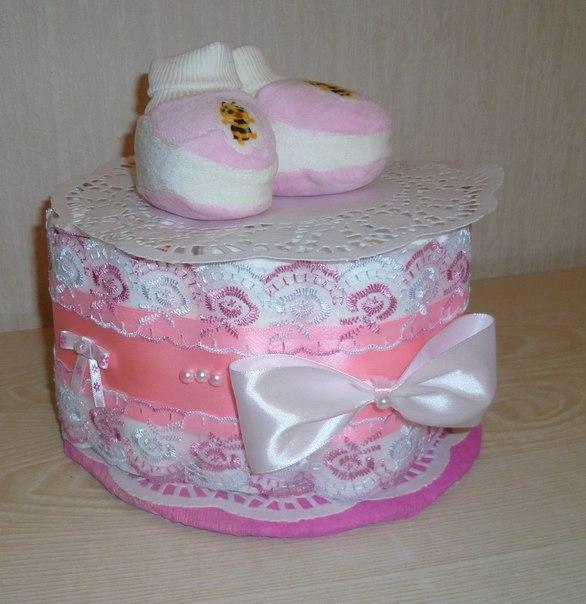 Торт из памперсов для девочки своими руками одноярусный 68