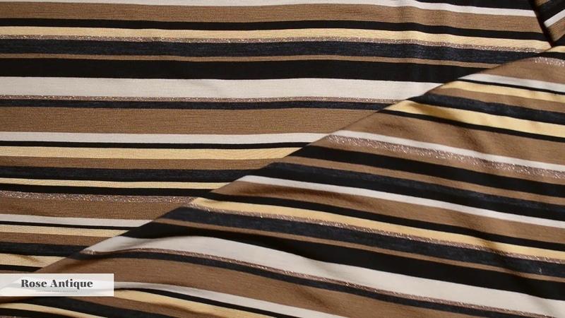 Ткань плательная коричневый черный желтый Полосы люрекс трикотаж