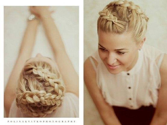 Свадебная прическа греческая коса 15