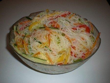 Фунчоза с овощами. Ингредиенты: - 200 г лапши прозрачной