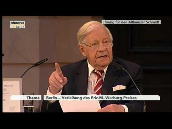 Helmut Schmidt - Verleiung der Eric M. Wartburg - Preises