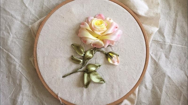 Cách thêu hoa hồng đơn giản Ribbon Embroidery