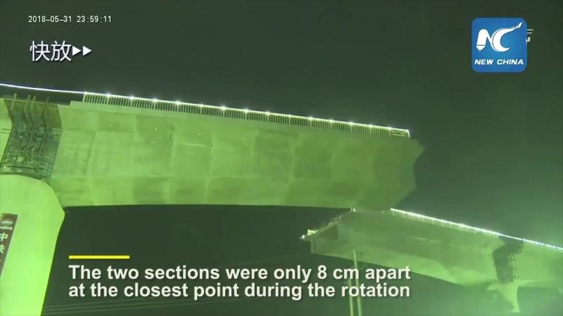 Так раскручивают многотонные секции мостов ВСЖД в Китае