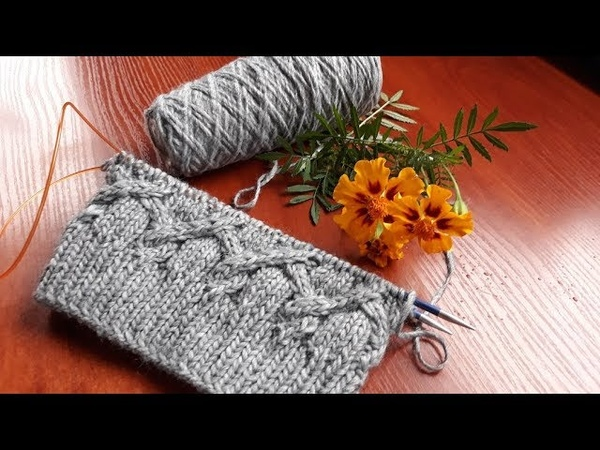 Шапка варежки спицами. Вязание розыгрыш подарка. Часть 2. Основной узор 1 11 ряды.