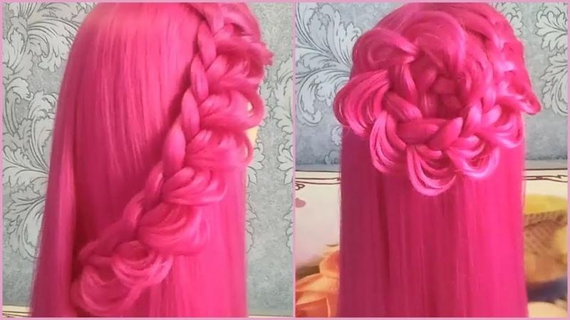 Красивая ажурная коса или большой цветок из косы 👍 Новая причёска 2 в 1 😍