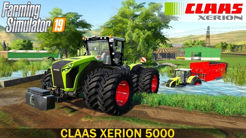 Farming Simulator 19 - CLAAS XERION 5000 Towing a Stuck Tractor from a Ditch