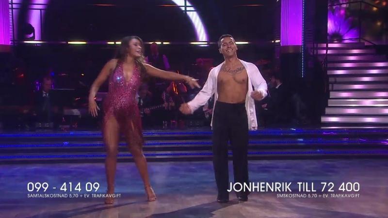 Jon-Henrik Fjällgren och Katja Luján Engelholm-Salsa.(Let s Dance 13.04.2018.)